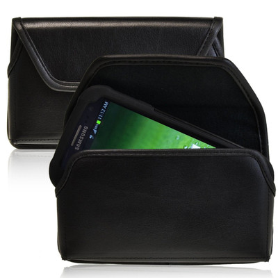 Horizontal Leather Extended Holster for Samsung Galaxy S3 III with Bulky Cases, Black Belt Clip