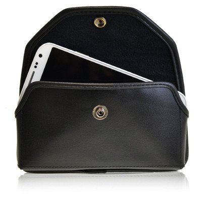 Horizontal Leather Extended Holster for Samsung Galaxy S4 IV with Bulky Cases, Snap Closure, Metal Belt Clip
