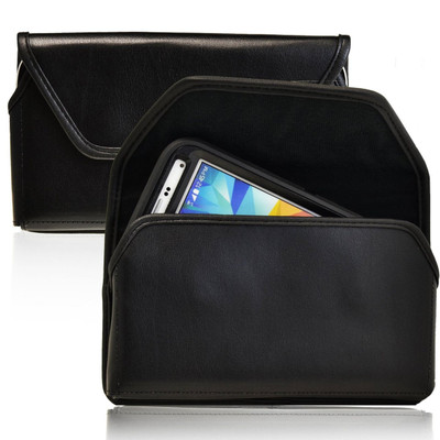 Horizontal Leather Extended Holster for Samsung Galaxy S5 V with Bulky Cases, Black Belt Clip