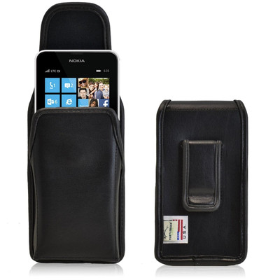 Nokia Lumia 635 Vertical Leather Holster, Black Belt Clip