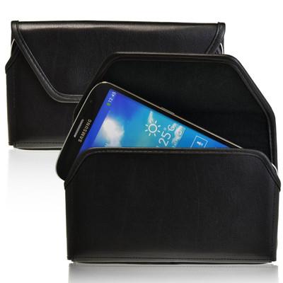 Samsung Galaxy Mega 6.3 Horizontal Leather Holster, Black Belt Clip
