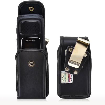 Samsung Rugby 4 Vertical Leather Holster, Snap Closure, Metal Belt Clip
