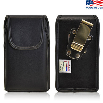 Vertical Leather Extended Holster for HTC One M8 with Bulky Cases, Metal Belt Clip