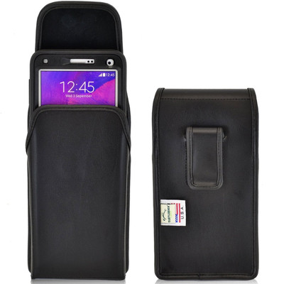 Note 4 Extended Vertical Leather Fixed Clip Holster