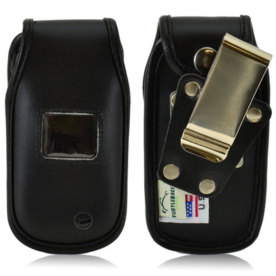 LG Envoy 3 un170 Heavy Duty Black Leather Phone Case with Rotating Metal Belt Clip
