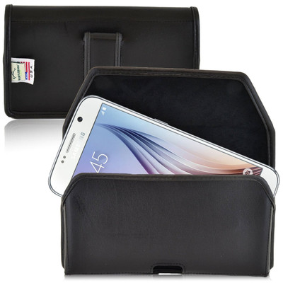 Galaxy S6 Horizontal Leather Fixed Clip Holster