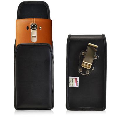 LG G4 Vertical Leather Holster, Metal Belt Clip