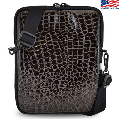 Laptop Case in Croc Skin Brown Color - Multiple Sizes, Padded, Water Resistant- Made in USA