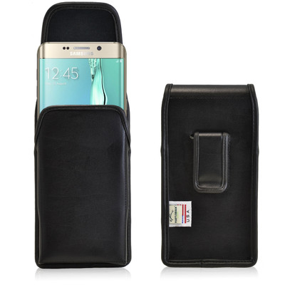 Galaxy S6 Edge Plus Vertical Leather Holster Black Clip