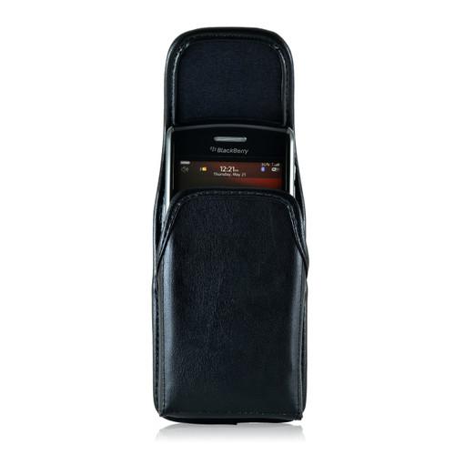 Blackberry 9000 8350i 8330 Leather Holster, Black Belt Clip