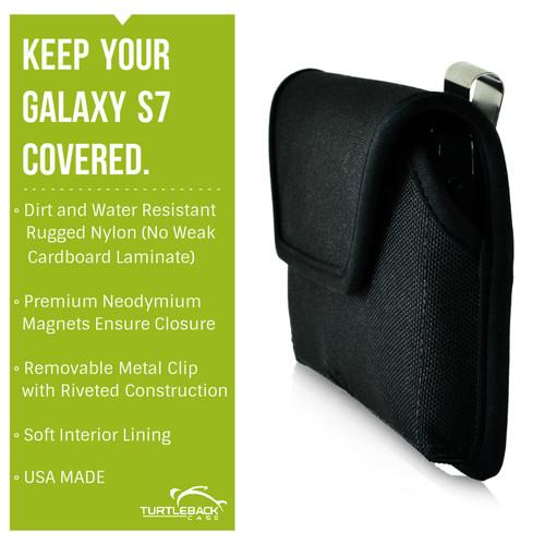 Galaxy S7 Horizontal Nylon Rotating Clip Holster