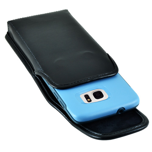 Galaxy S7 Edge Extended Vertical Leather Rotating Clip Holster Fits Otterbox Commuter