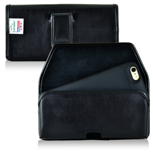 Mophie Juice Pack iPhone 6S+ Plus Holster Juice Pack Air, Space iPhone 6S+ Plus Belt Case, Black Leather Pouch with Executive Belt Clip, Horizontal - Magnetic Flap Closure