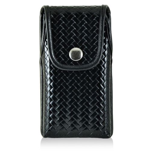 iPhone 6S Samsung S7 Police Pouch Holster Vertical Snap Closure Black Basketweave Leather Belt Clip Case with Heavy Duty Rotating Belt Clip, fits slim cases