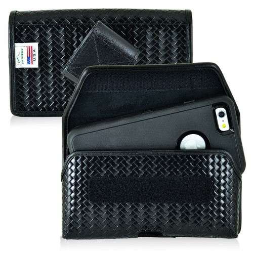 iPhone 6S+ Plus Samsung S7 Edge Police Pouch Belt Clip Horizontal Velcro Closure Black Basketweave Leather Holster Pouch with Heavy Duty Rotating Belt Clip, fits Otterbox Defender and Bulky Cases