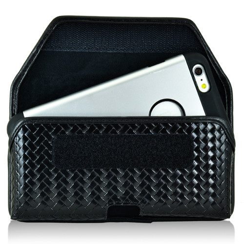 iPhone 6S+ Plus Samsung S7 Edge Police Pouch Belt Clip Horizontal Velcro Closure Black Basketweave Leather Holster Pouch with Heavy Duty Rotating Belt Clip, fits Otterbox Commuter & Slim Cases