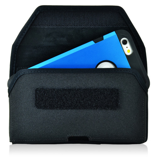 iPhone 6S+ Plus Samsung S7 Edge Police Pouch Belt Case Horizontal Velcro Closure Black Nylon Belt Clip Pouch with Heavy Duty Rotating Belt Clip, fits Otterbox Commuter & Slim Cases