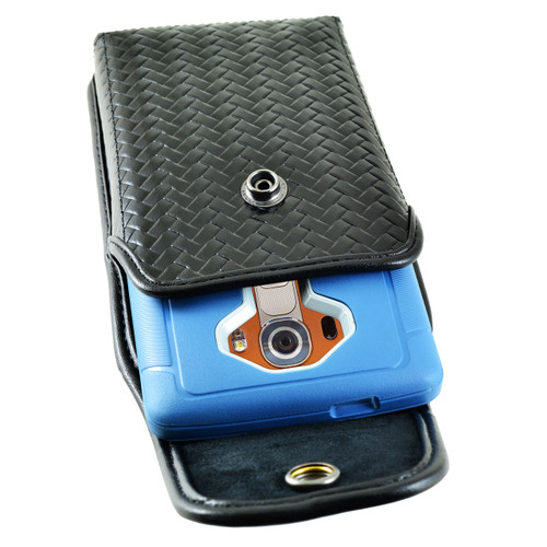 iPhone 6S Samsung S7 Police Pouch Holster Vertical Snap Closure Black Basketweave Leather with Heavy Duty Rotating Belt Loop fits Otterbox Defender and Bulky Cases