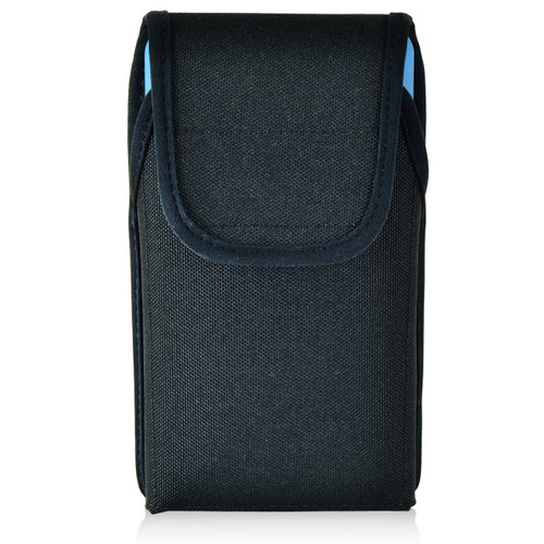 iPhone 6S Samsung S7 Police Pouch Holster Vertical Velcro Closure Black Nylon with Heavy Duty Rotating Belt Loop fits Otterbox Defender and Bulky Cases