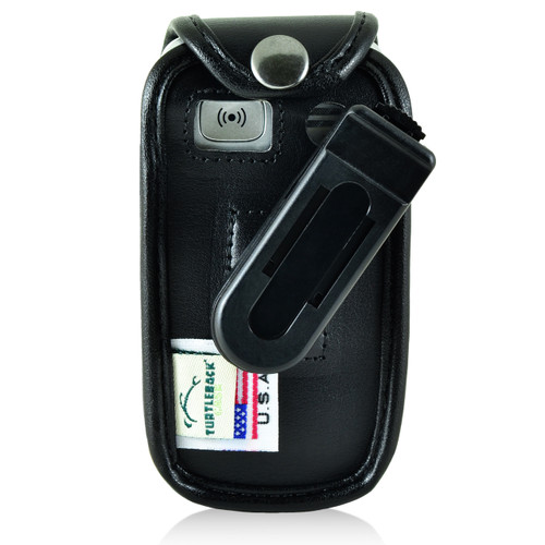 Doro PhoneEasy 626 Flip Phone Fitted Case Black Leather Plastic Clip Turtleback