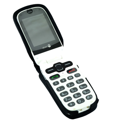 Doro PhoneEasy 626 Flip Phone Fitted Case Black Nylon Metal Clip Turtleback