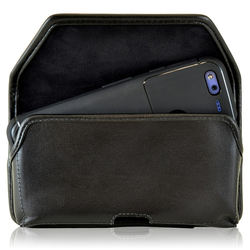 Google Pixel Holster, Google Pixel Belt Case, Black Leather Pouch with Executive Belt Clip, Horizontal