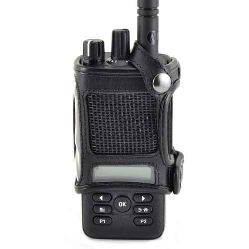 Motorola XPR 3500 Belt Holster Fitted Case, This Holder fits Motorola XPR 3500 Radio Black Leather Duty Belt Holster with Heavy Duty Rotating Belt Clip