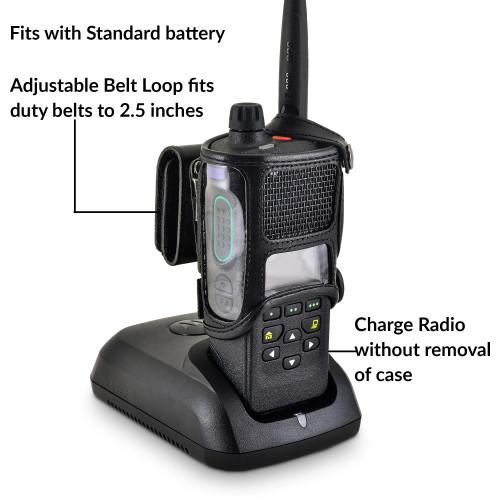 Motorola APX 4000 Holder | Single Knob | STANDARD BATTERY | Leather Fits Duty Belts