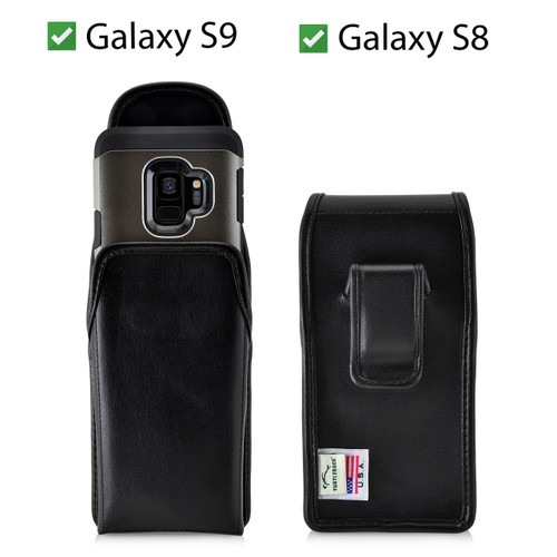 Galaxy S9 & S8 Leather Vertical Holster Case Black Belt Clip