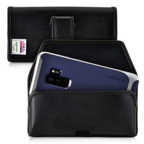 Galaxy S9 Plus / S8 Plus Leather Holster Case Black Belt Clip