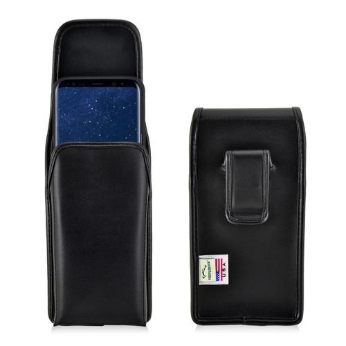 Galaxy S9 Plus / S8 Plus Leather Vertical Holster Case Black Belt Clip