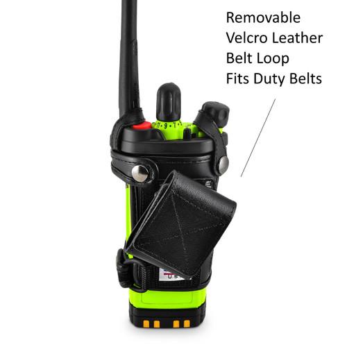 Motorola APX 6000XE Belt Carry Holder Case by Turtleback, Black Leather Duty Belt Holster with Heavy Duty Rotating Belt Clip