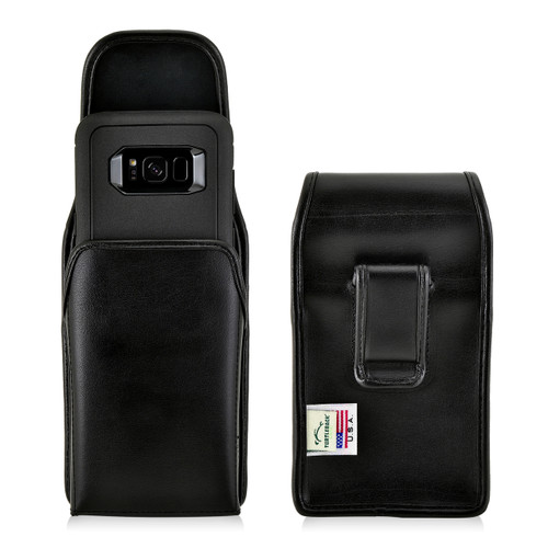 Galaxy S8 Leather Vertical Holster Case Black Belt Clip Otterbox Defender