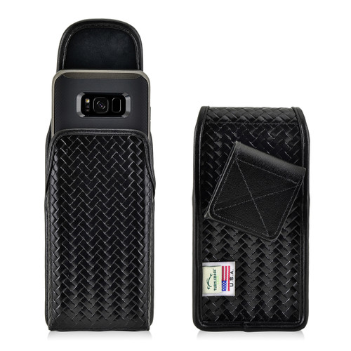 Galaxy S9 / S8 Police Leather Basketweave Vertical Holster Belt Clip Case