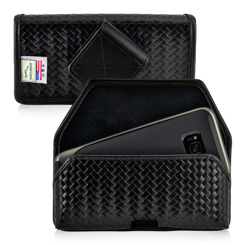 Galaxy S9 / S8 Police Leather Basketweave Holster Belt Clip Case