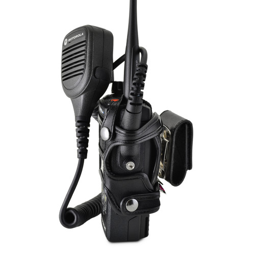 Motorola APX 4000 Extended Battery Dual Knob Carry Holder Case Turtleback, Black Leather Duty Belt Holster