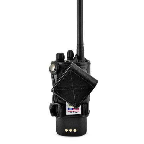 Motorola CP200d Radio Fitted Carry Holder Case Turtleback, Black Leather Duty Belt Holster