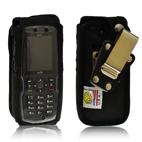 Sonim XP5560 IS BOLT 2 Heavy Duty Black Leather Case with Rotating Removable Metal Clip