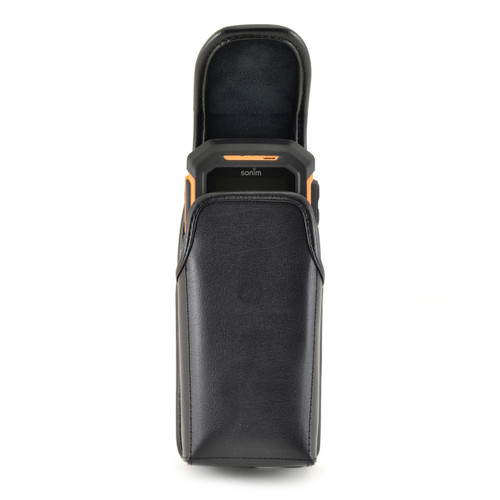 Sonim XP1520SL / XP1300 / XP3300 Vertical Black Leather Holster Pouch Rotating removable Metal Belt Clip & Magnetic Closure
