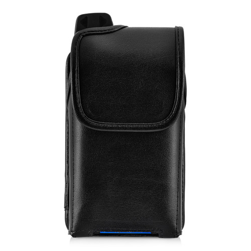 Sonim XP7 IS Black Leather Holster Pouch Rotating Removable Metal Belt Clip By Turtleback