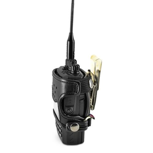Wouxun KG-UV2D and KG-UV3D Belt Carry Holder Case by Turtleback, Black Leather Duty Belt Holster with Heavy Duty Rotating Belt Clip