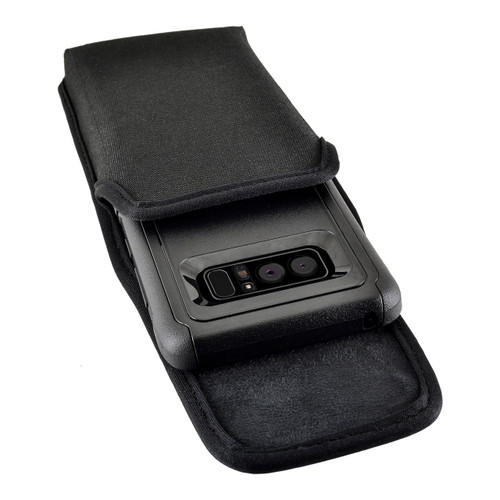 Galaxy Note 8 Vertical Nylon Holster for Otterbox Commuter Case Metal Clip and Fits Bulk Cases