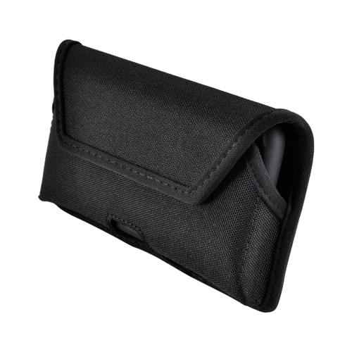 iPhone 11 Pro (2019), XS (2018) & X (2017) Belt Clip Horizontal Holster Case Black Nylon Pouch Heavy Duty Rotating Clip