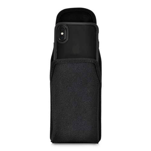 iPhone 11 Pro (2019), XS (2018) & X (2017) Belt Clip Vertical Holster Case Black Nylon Pouch Heavy Duty Rotating Clip
