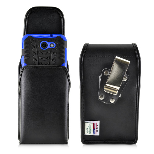 Galaxy J7 2017 Prime, Perx, Halo Holster, BULKY Vertical Black Leather Belt Clip