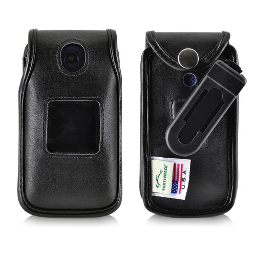 Consumer Cellular Alcatel GO FLIP, Go Flip V, ATT Flip2, T-Mobile 4044W, MYFLIP (A405DL) Black LEATHER Fitted Case Removable Belt Clip