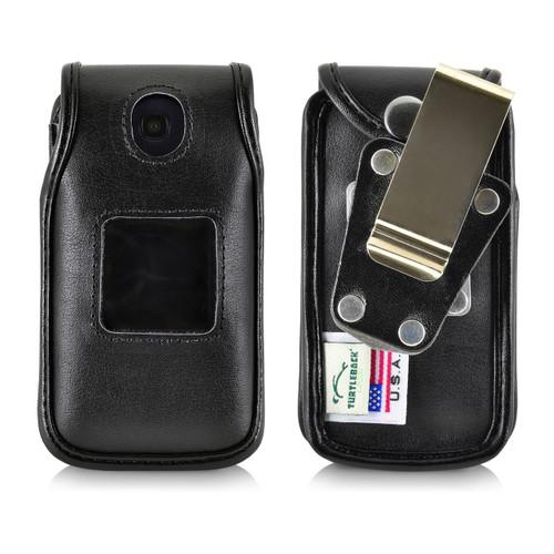 Consumer Cellular Alcatel GO FLIP, ATT Flip2, T-Mobile 4044W, MYFLIP (A405DL) Black LEATHER Fitted Case Metal Removable Belt Clip