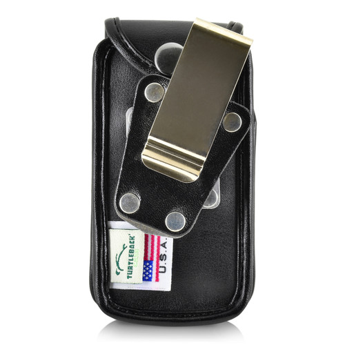 Consumer Cellular Alcatel GO FLIP, ATT FLIP2 T-mobile 4044W Black LEATHER Fitted Case Metal Removable Belt Clip
