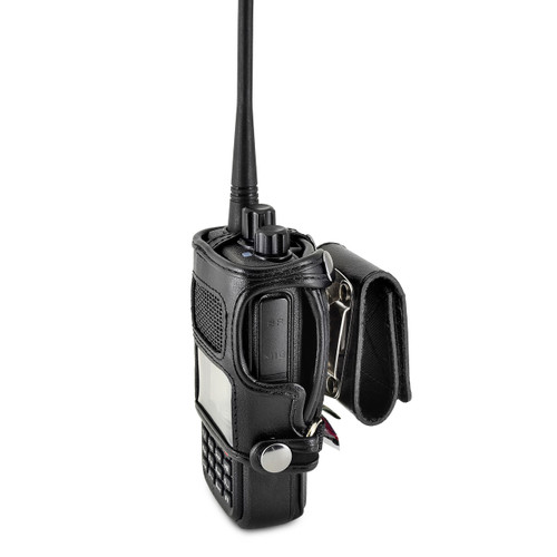 NKTech MD-380 Radio Belt Case Holder Two 2 Way Radios Walkie Talkie Black Leather Rotating Clip fits in Charger