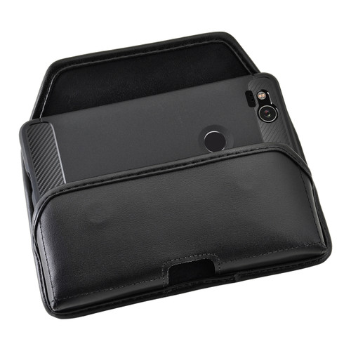 Google Pixel 2 Belt Case Fits Slim Case Black Leather Heavy Duty Rotating Belt Clip